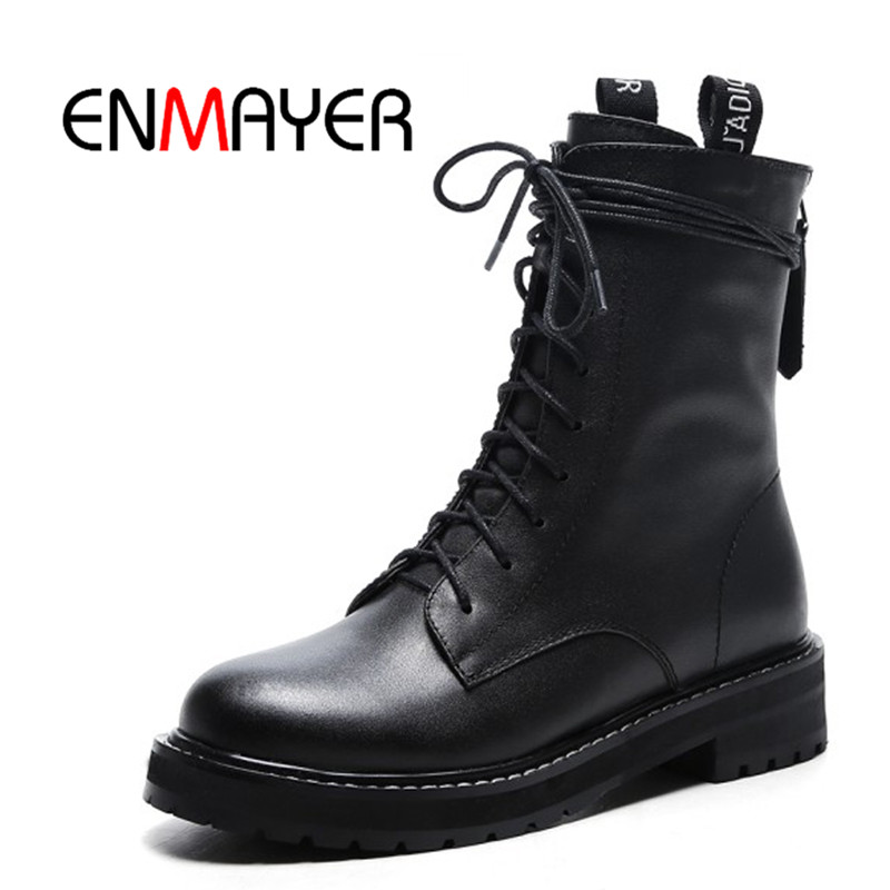 ENMAYER Winter Fashion Women's Shoes Low Square Heel Boots Ladies Black Round Toe Boots Ankle Med Heel Elastic Cow Suede Shoes 2018 fashion cow leather zipper superstar winter boots women round toe low heel solid concise pregnant chelsea ankle boots l08