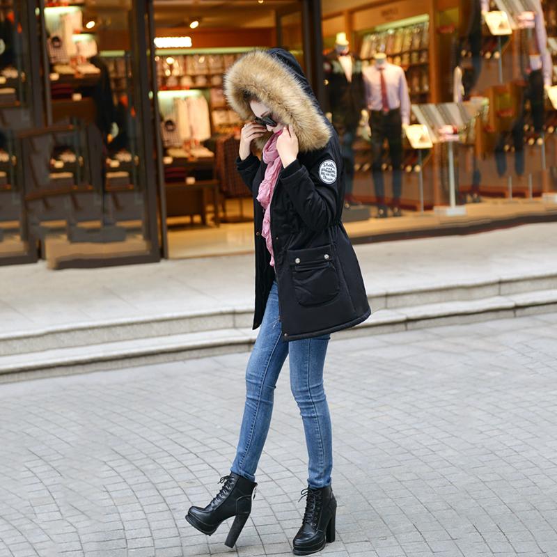 Adjustable Waist Women Parkas Big Pockets Fur Hooded Long Coats Female Outwear Cotton Warm Winter Ladies Jackets Coat MDEW541 6