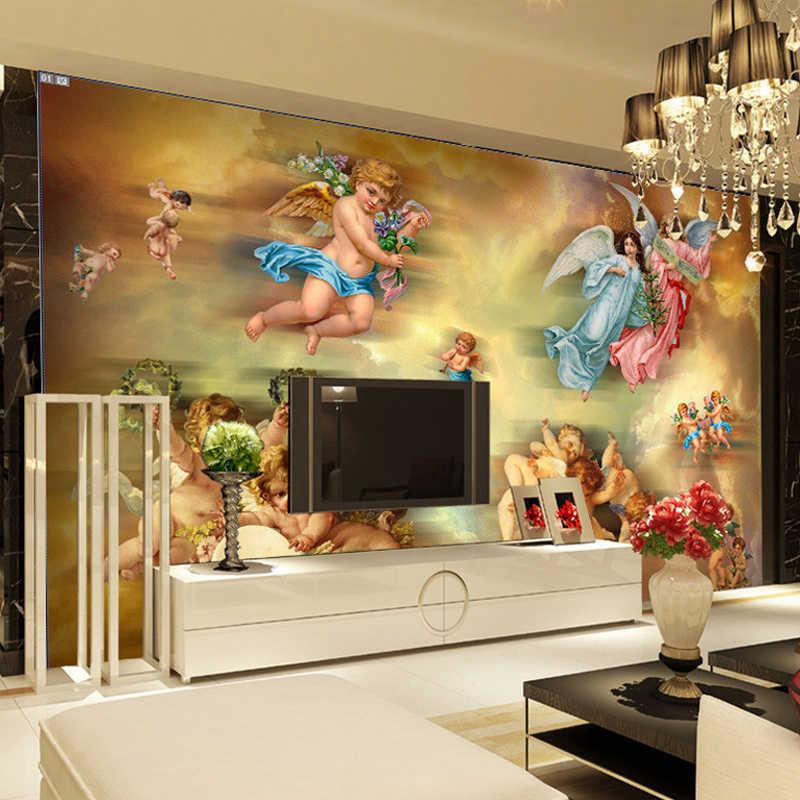Personalizado mural papel de parede estilo europeu sala estar sofá tv pano de fundo grande pintura anjo imagem papel de parede para paredes do quarto