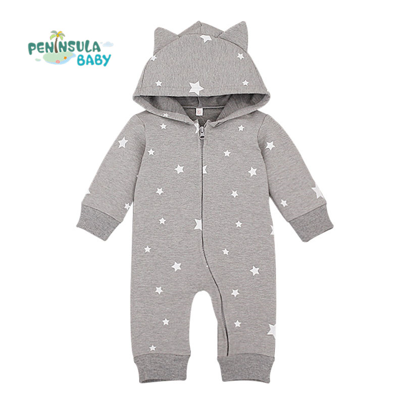 Autumn Animal Baby Boys Girls Rompers One Piece Long Sleeve Jumpsuit Cotton Newborn Infant Costume Stars Pattern Hooded Clothing 2016 new newborn baby boys girls clothes rompers cotton tracksuit boys girls jumpsuit bebes infant long sleeve clothing overalls