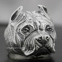 Pitbull Pit Bull Dog Solid 925 Sterling Silver Mens Biker Ring 8E010 US Size 7.5 to 14