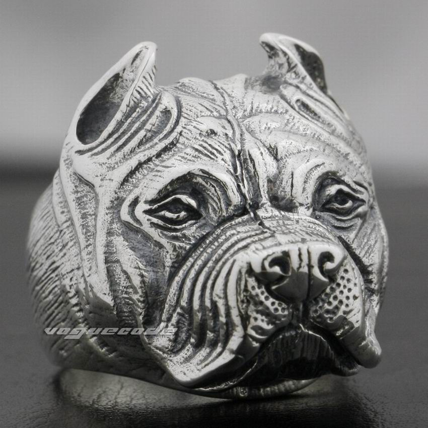 Pitbull Pit Bull Dog Solid 925 Sterling Silver Mens Biker Ring 8E010 US Size 7.5 to 14 crazy pit bull lady apbt dog vinyl window decal dog sticker