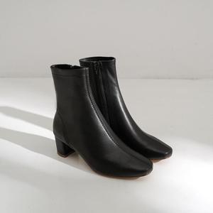 Image 3 - סופרסטאר אמיתי עור רוכסן כיכר הבוהן גבוהה עקבים נשים קרסול מגפי מסלול קלאסיקות אופנה מגפי אלגנטי חורף נעלי L50
