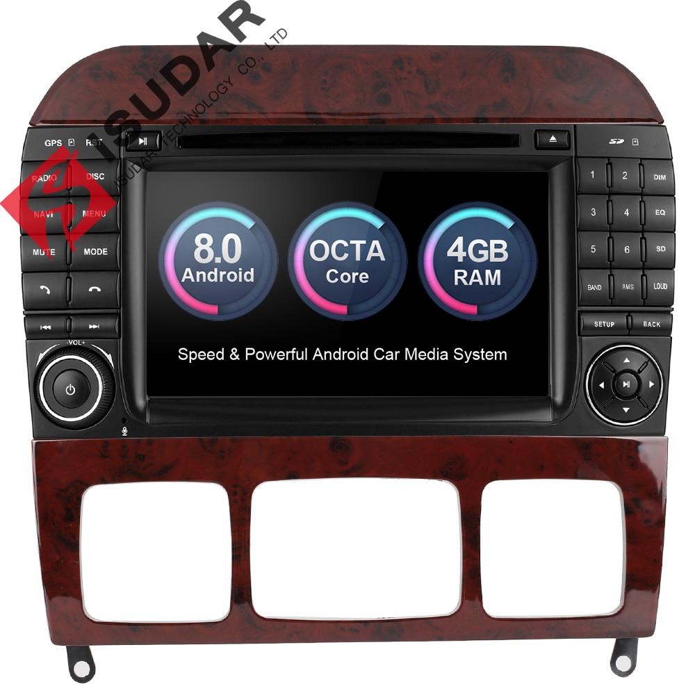 Isudar Car Multimedia Player dvd automotivo Radio GPS 2 din Android 8.0 For Mercedes/Benz/S320/S350/W220/W215/CL600 4G Wifi DVR isudar car multimedia player automotivo gps autoradio 2 din for skoda octavia fabia rapid yeti superb vw seat car dvd player