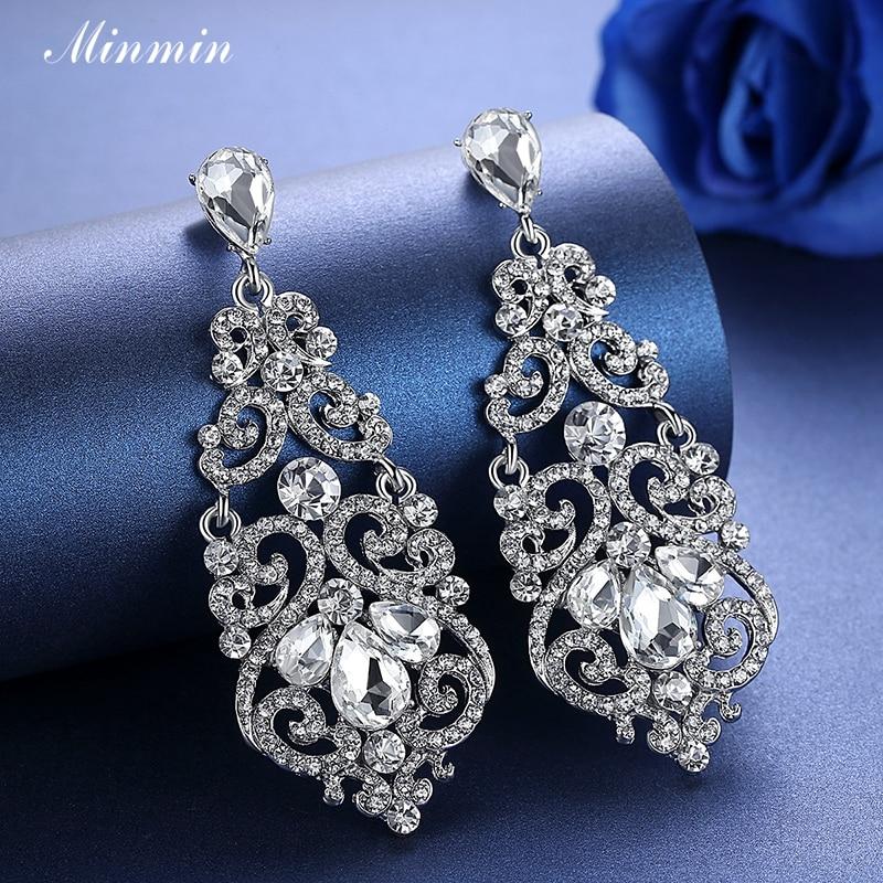 Minmin Fashion Large Floral Sølv Farge Teardrop Crystal Lang Drop - Mote smykker - Bilde 4