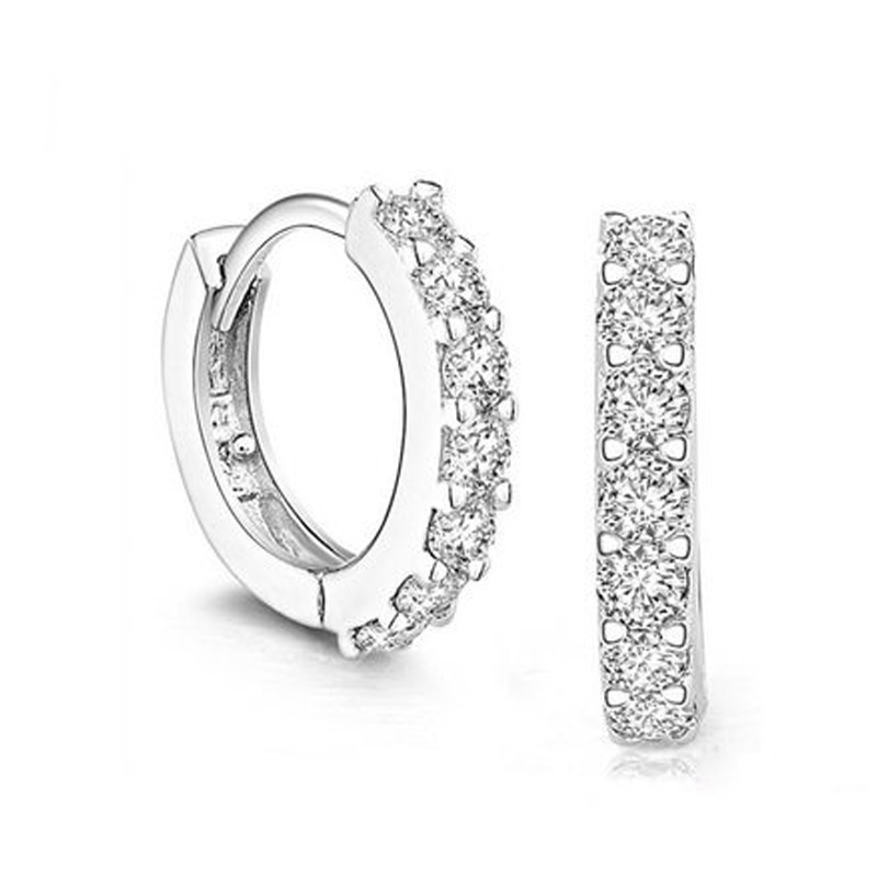 Mais recente moda feminina 925 sliver circular brinco com cristal luxo todo o jogo festa de negócios escritório senhoras círculo orelha fivela