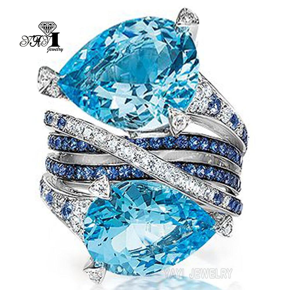 Verlobungsringe Schmuck & Zubehör GemäßIgt Yayi Schmuck Mode Prinzessin Cut 5,8 Ct Navy Zirkon Silber Farbe Engagement Ringe Hochzeit Ringe Party Ringe Größe 6-12