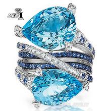YaYI biżuteria moda księżniczka Cut 5 8 CT granatowy cyrkon kolor srebrny pierścionki zaręczynowe obrączki ślubne pierścienie Party pierścionki rozmiar 6- 12 tanie tanio TRENDY Geometryczne Zaręczyny HR626 20mm Zespoły weselne yayi jewelry Miedzi Kobiety Prong ustawianie Cyrkonia Good Mood