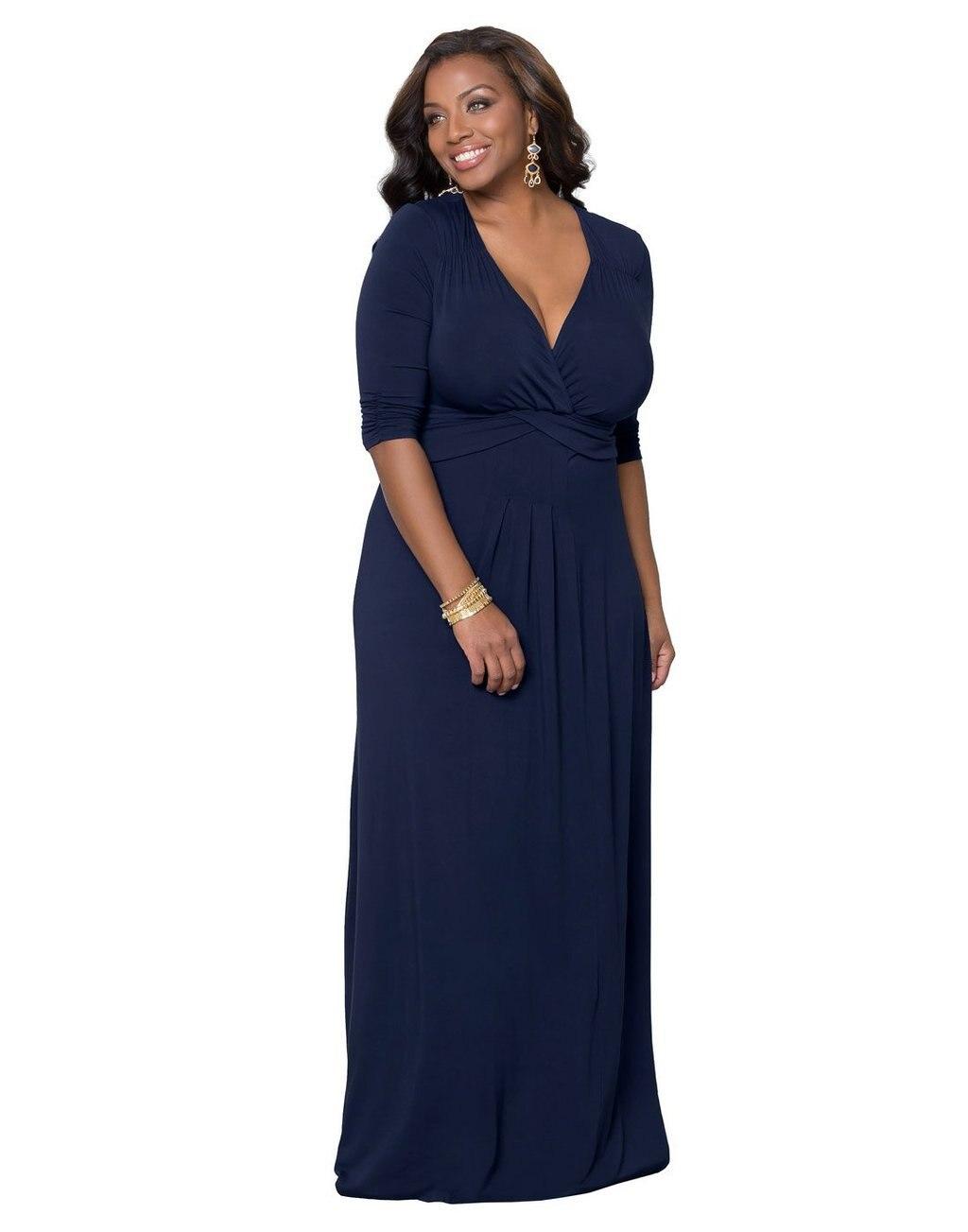 3XL осенне-весенние платья модные элегантные женские с v-образным вырезом синие Черные Большие размеры женское платье вечернее тонкое длинно...