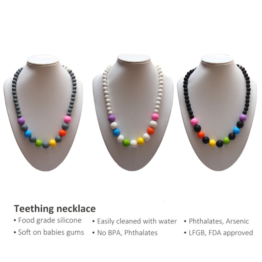 Baby Chewable Teether Necklaces Silicone Baby Teething Necklace Beads Mom Nursing Toddler Infant Toys Collar Lactante Silicona