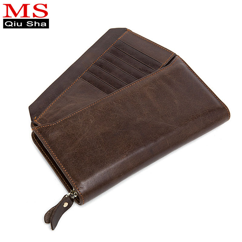 MS.QIUSHA Business Men Long Wallet Designer Genuine Leather Wallets Long Clutch Zipper Male Purse Mens Clutch Handy Bag carteira 2016 sale special offer carteira feminina carteras mujer mens wallet men driving license genuine leather wallets purse clutch
