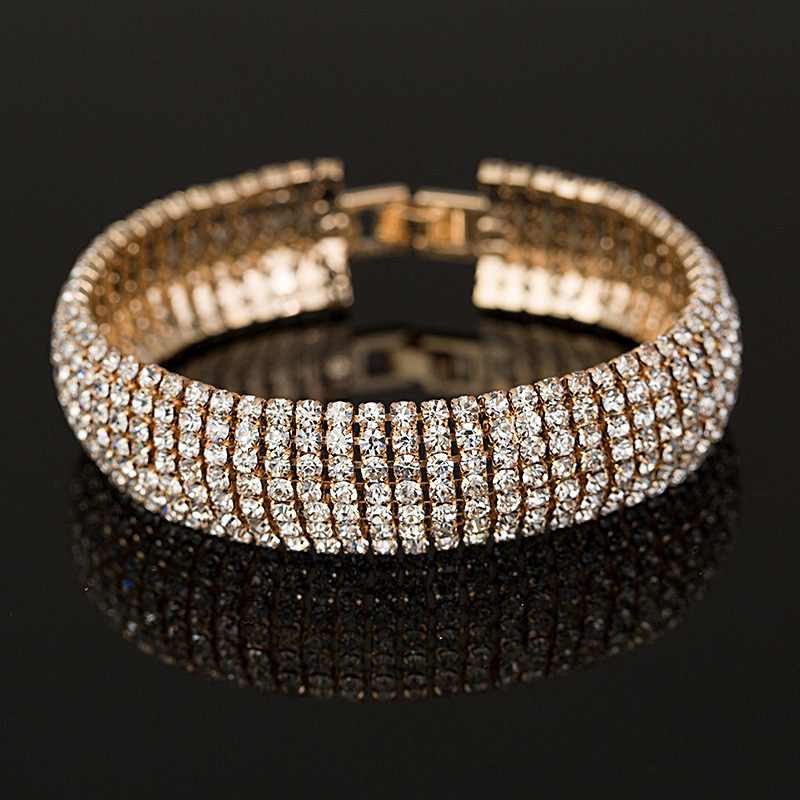 Gold And Silver Bracelets: Factory Price Gold And Silver Plated Classic Crystal Pave