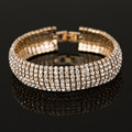 Factory price Gold and Silver plated  Classic Crystal Pave Link Bracelet Bangle Fashion Full Rhinestone Jewelry for Women B011