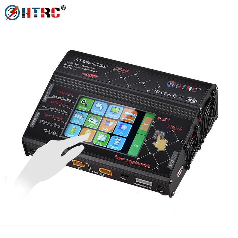HTRC HT206 RC Balance Charger AC/DC DUO 200 W * 2 20A * 2 Dual Port 4.3