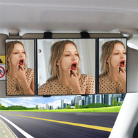 Triple Folding Car Interior Makeup Mirror Sunshade Mirror Decoration