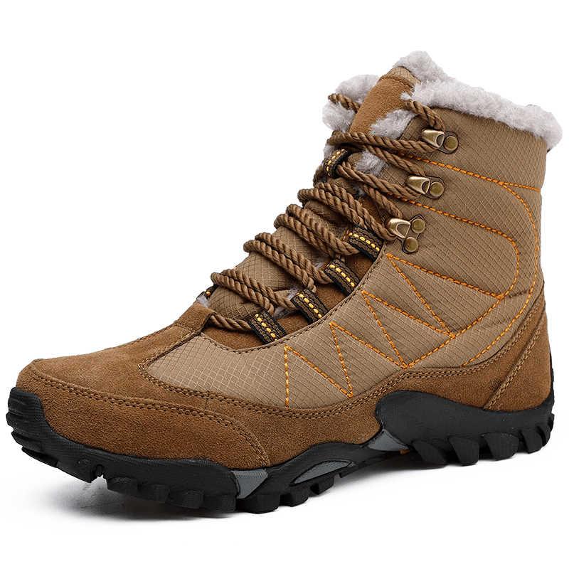 Мужские зимние сапоги с плюшевой подкладкой Теплые женские зимние ботинки Водонепроницаемый шнуровка Для Мужчин's ботильоны зимние ботинки на снежную погоду с мужской мотоциклетная обувь размер 35-47