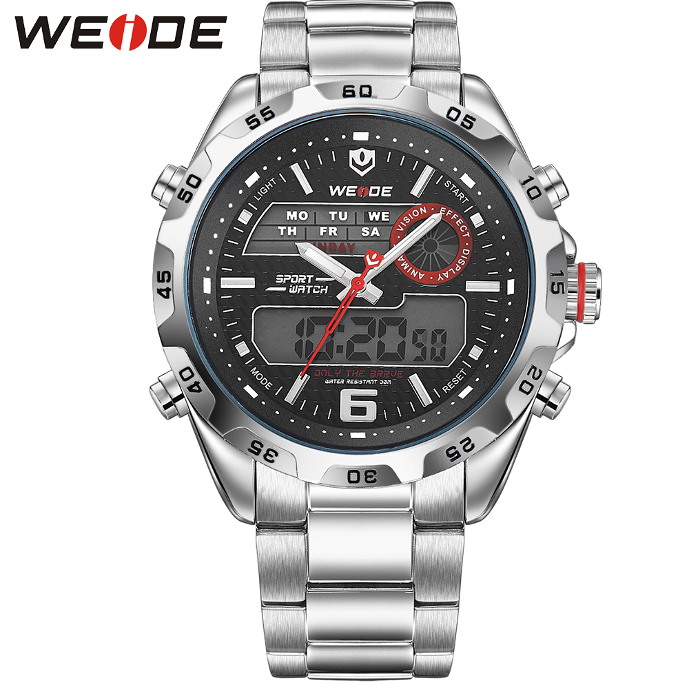 WEIDE Multifunctional Mens Analog Back Light LCD Digital Display Watches 3ATM Stainless Steel Wrist Band Outdoor Sports For Men weide new watch analog digital display outdoor men sport quartz movement military watch back light stainless steel band 6 colors