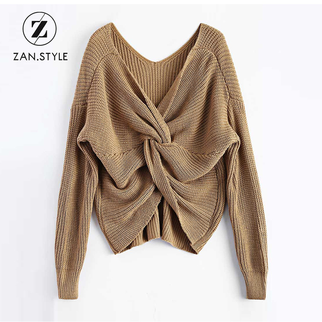 bf36521350b0bb STYLE Women V Neck Twisted Back Knitted Sweater Winter Warm Full Sleeve  Solid Casual Drop Shoulder Pullover Knit Sweaters