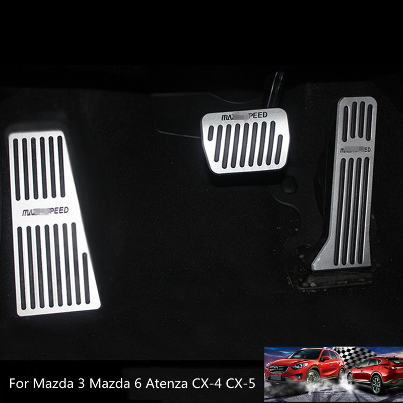 Aluminum Alloy Car Foot Rest Fuel Brake AT Pedals for Mazda 3 Mazda 6 Atenza CX-3 CX-4 CX-5 2013 2014 2015 2016 for mazda cx 5 cx5 2012 2013 2014 2015 aluminium alloy side bars rails roof rack luggage carrier car styling
