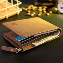 PU Leather Mens Wallet Man Zippper Coin Purse Cover Small Br