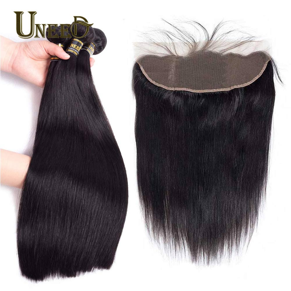 Brazilian Straight Hair With Full Lace Frontal Closure Pre Plucked 13X4Inch 100% Human Hair 3 Bundles With Closure Natural Black ...