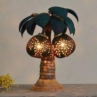 Творческий пастырской ручной работы Таиланд кокосовое В виде ракушки дерево светодиодный E27 Настольные лампы для отеля Спальня прикроватн