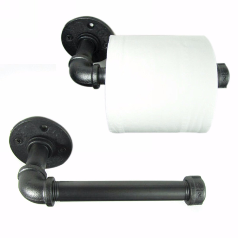 Black Iron Pipe Toilet Paper Holder Industrial Retro Style Toilet Paper Holders Wall Mount Roller Holder for Bathroom Hotel Use mayitr 1pc iron pipe toilet paper holder wall mounted industrial retro urban style iron pipe toilet paper holder roller 18cm