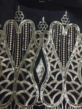 Sequin Lace Embroidery Black High Quality African George Lace Fabric 5Y African Nigerian Lace Fabric 2017 George Laces Fabric