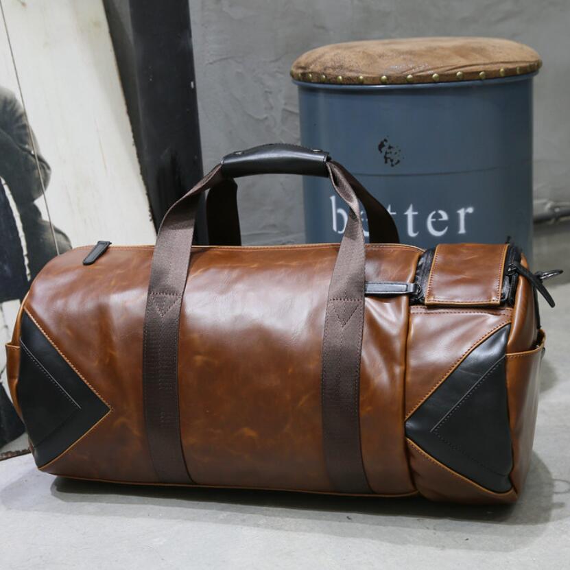 купить PU Leather Men Travel Bags Carry on Luggage Man Duffel Bag Brown Travelling Handbag Large Male Weekend Overnight Shoulder Purse по цене 3569.19 рублей