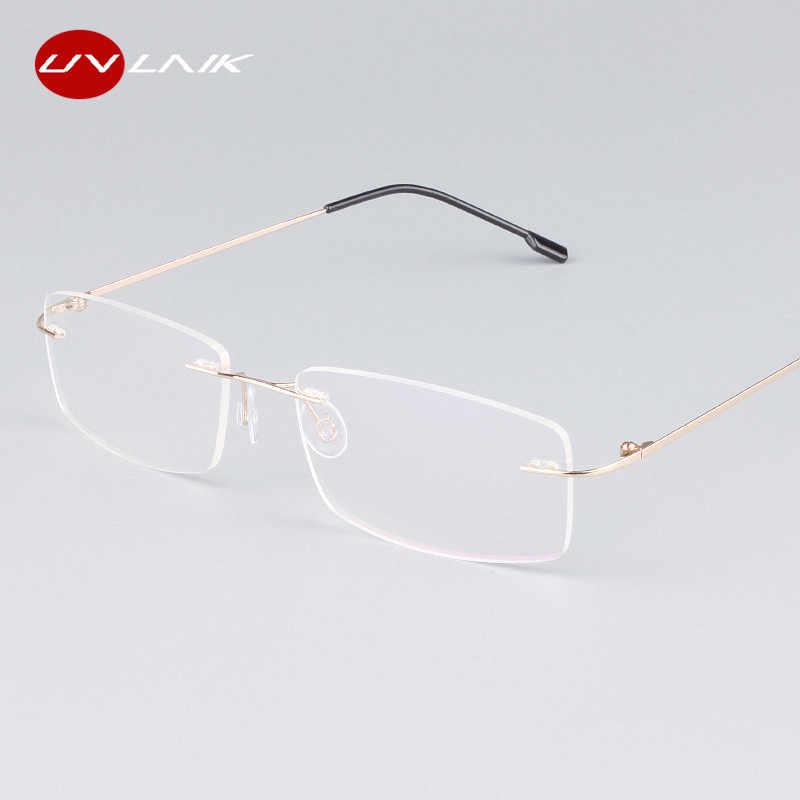 a86a5c43d4 ... UVLAIK Classic Mens Pure Titanium Rimless Glasses Frames Myopia Optical  Frame Ultra-light Titanium Frameless ...