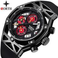 NORTH Watch Top Brand Luxury Men Fashion Quartz Mens Watches Waterproof Chronograph Black Rubber Sport Watch Relogio Masculino
