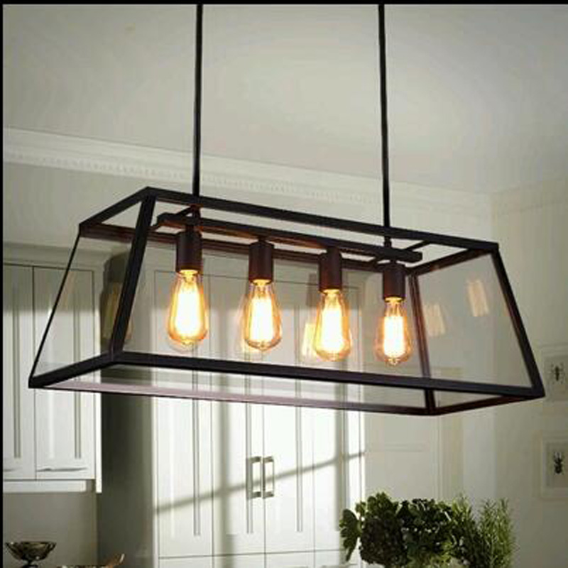 Loft Rectangular Creative Iron Chandelier Industrial Wind American Retro Living Room Restaurant Edison Bulb Glass Box Lighting In Pendant Lights From