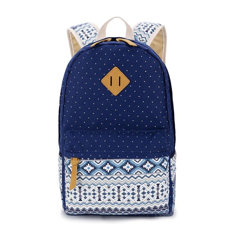 Femmes sac à dos pour sacs d'école adolescentes filles Vintage Dot impression toile mode sac à dos femme Mochila