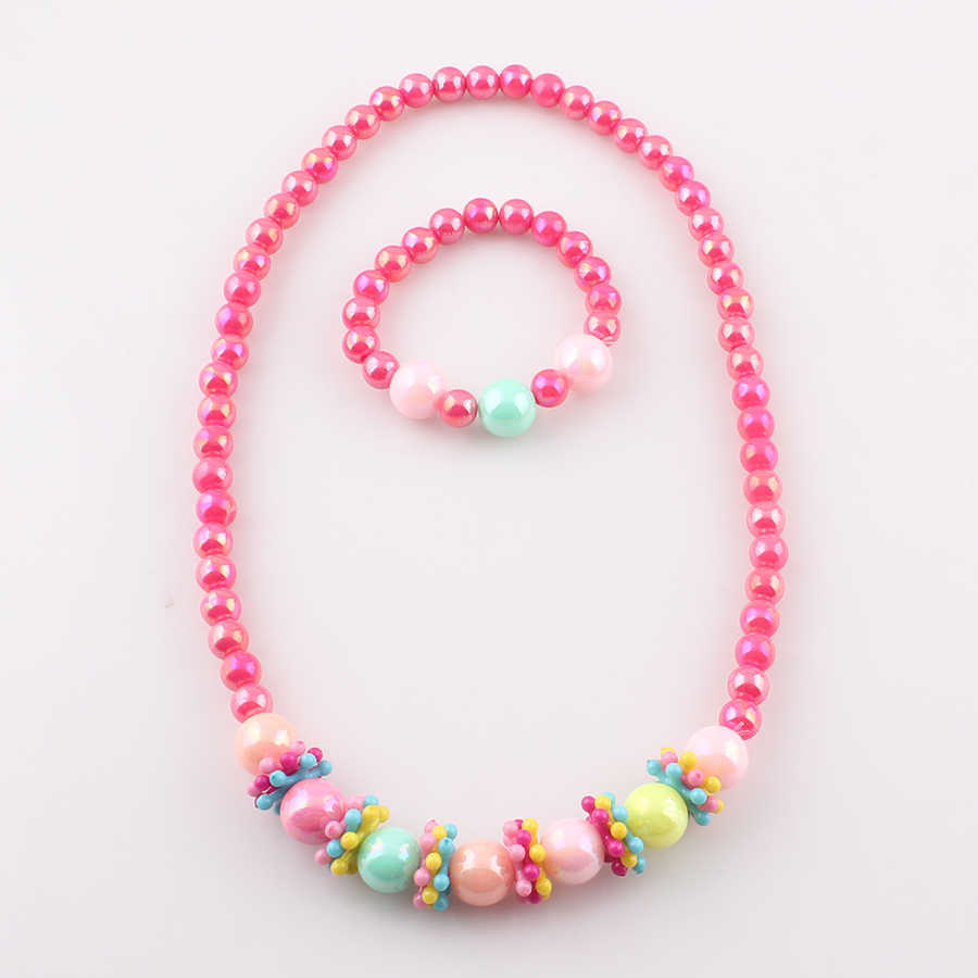 Candy color Handmade Children Beads Jewelry Set Baby Child Kids Simulated Pearl Necklace Bracelet Set Gift for Child JJAL T85