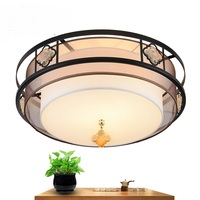 Китайский стиль ткань круглый потолочный светильник простые современные светодиодные гостиной спальня исследование Винтаж Ресторан отел