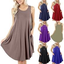 Women  Fashion Sleeveless Pocket Casual Vest T-shirt Swing Summer Dress Solid Colors Beach Vestidos WHOLESALE