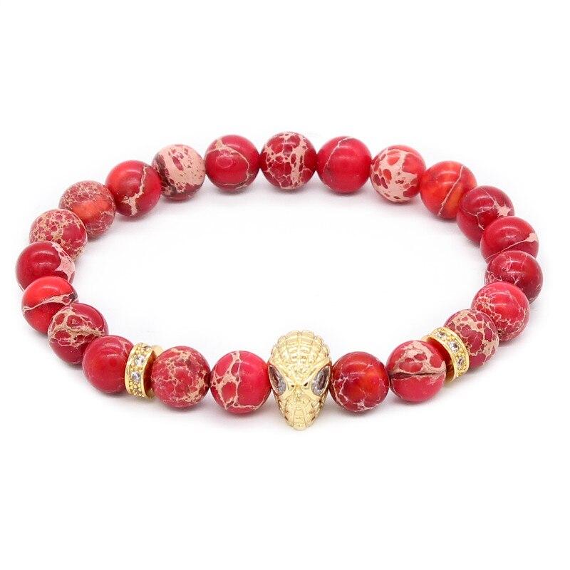Poshfeel Fashion Spiderman Bracelet For Men 8Mm Natural Red Stone Beads Bracelets & Bangles Pulseira Mbr170381 men beaded bracelet red