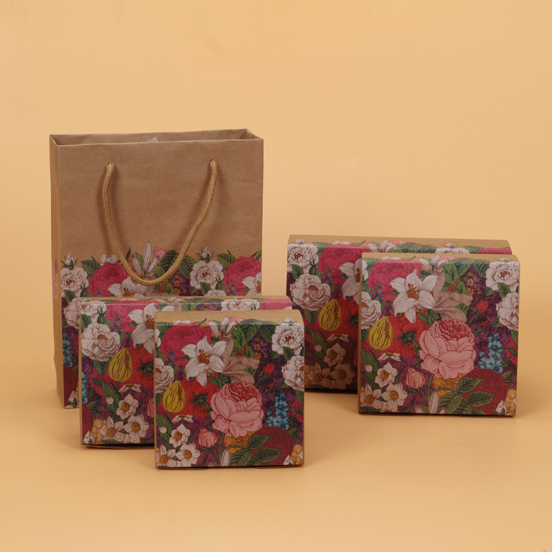 50 pcs kraft paper box party favors gift paper box cake packaging candy cookies cupcake boxes wedding paper bags with handles in Gift Bags Wrapping Supplies from Home Garden