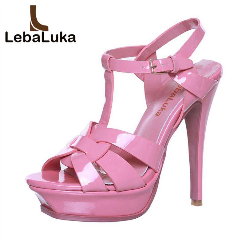 LebaLuka/бесплатная доставка, качественные сандалии из натуральной кожи на высоком каблуке, женские привлекательная обувь, модная женская обув...