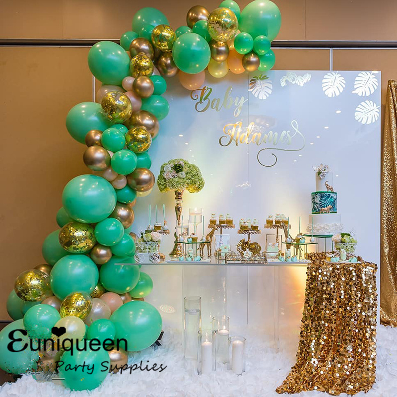 Jungle Party Balloon Balloons Garland Kit Metallic Gold Green White Latex With