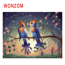 WONZOM Branch Bird Painting By Numbers Abstract Sunset Animal Oil Cuadros Decoracion Acrylic Paint On Canvas Modern Art