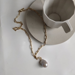 Image 4 - LouLeur 925 sterling silver Baroque pearl necklace gold square chain water drop pendant necklace for women romantic jewelry gift