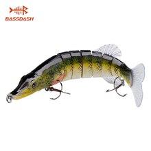 цена на Bassdash Multi Jointed Swimbaits Bass Fishing Lure Hard Body Soft Fins 8''2-1/2oz, 2018 New Style, 2pcs