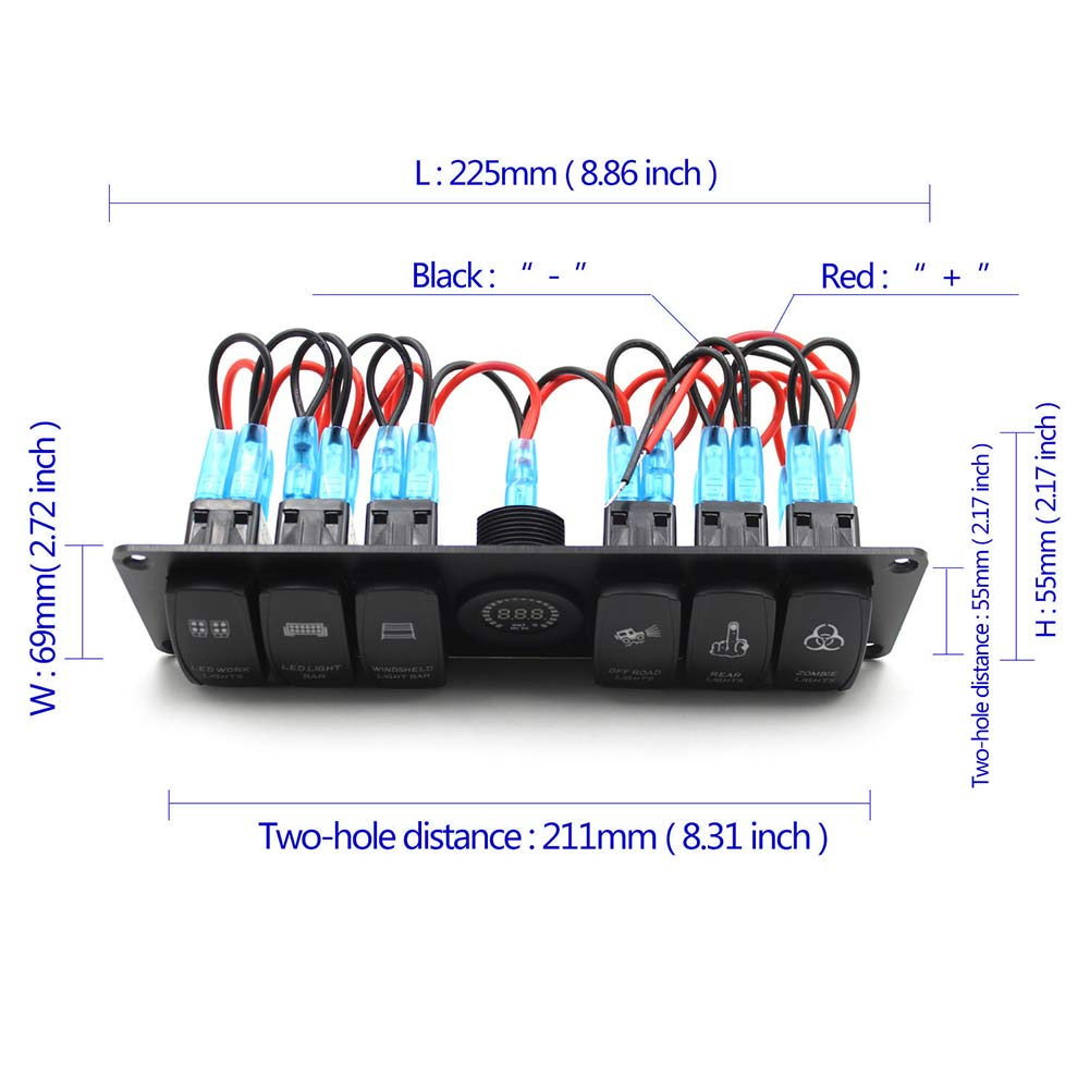 small resolution of new 6 gang rocker switch panel circuit breaker led voltmeter rv car marine boat dxy88 in car switches relays from automobiles motorcycles on