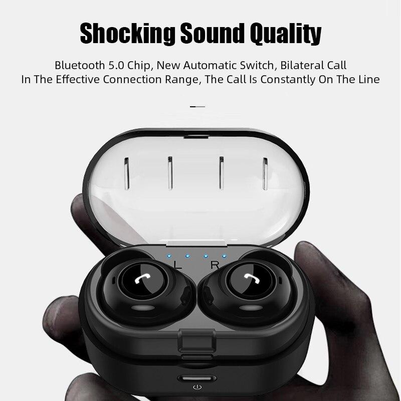 capsule tws wireless earbuds v5.0 bluetooth earphone with deep bass