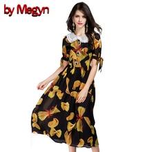 Por Megyn Mulheres Floral Impressão Sopro Vestido de Manga Outono Vestidos de Manga Curta Rendas Turn-Down Collar Vestido Vintage Retro DG209