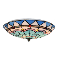 16 Tiffany Style Blue White Flush Mount Lamp E26 E27 Baroque Vintage Stained Glass Dining Room