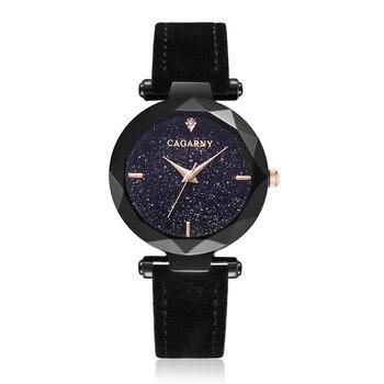 цена на Cagarny Women Fashion Watch Creative Lady Casual Watches Small Case Crystal Stylish Desgin Black Leather Quartz Watch for Female