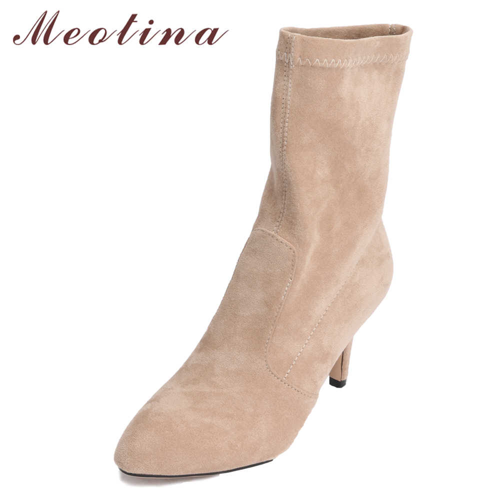 Meotina Mid Calf Boots Women High Heel Pointed Toe Boots Stretch Fabric  Elastic Brand Boots Sexy 3440a694a8fa