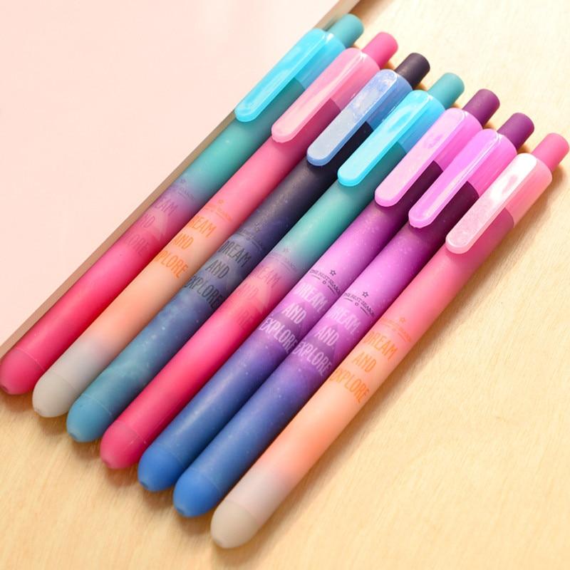 2PCS Galaxy Starry Sky Press Gel Pen Signing Pen School Office Supply Student Stationery Black Ink 0.5mm